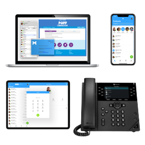 Unified Communications tools on POPP's Cloud Voice Phone System, including softphone apps and deskphone